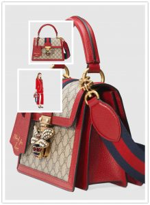 c858cc3f6d7792 Gucci Queen Margaret Small Top Handle Bag SIZE: 10″W x 7″H x 5″D Available  in colors and materials. The style in Beige/ebony GG Supreme canvas with  red ...