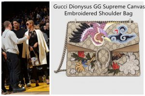 faa80d0cdf658 Gucci Dionysus Striped Bamboo Top Handle bag. Beyonce is a basketball fan,  and she in a Dionysus Striped Bamboo top handle bag watched the basketball  games ...